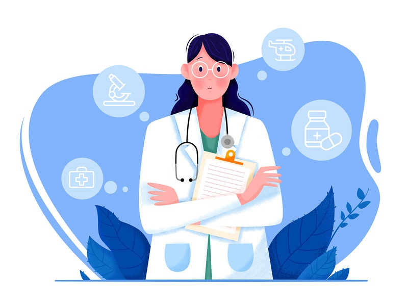 Doctor peace business plant profession job nurse beauty help blue treatment drug medical hospital doctor woman design girl people character illustration