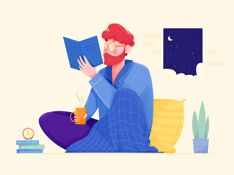 Reading plant affinity design room indoor home house rest restaraunt relax reading read moon nightlife evening night boy man people character illustration