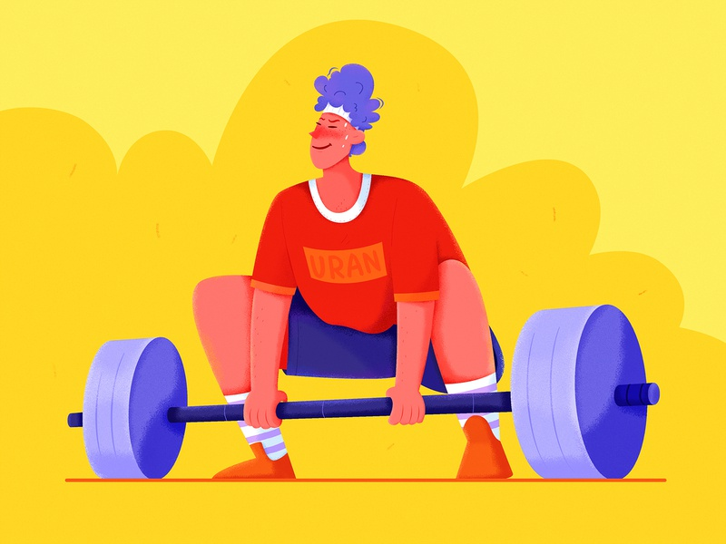 Weight Lifting color orange affinity designer affinity uran weight life gym excercise sportman strong hard fitness sport weightlifting boy man people character illustration