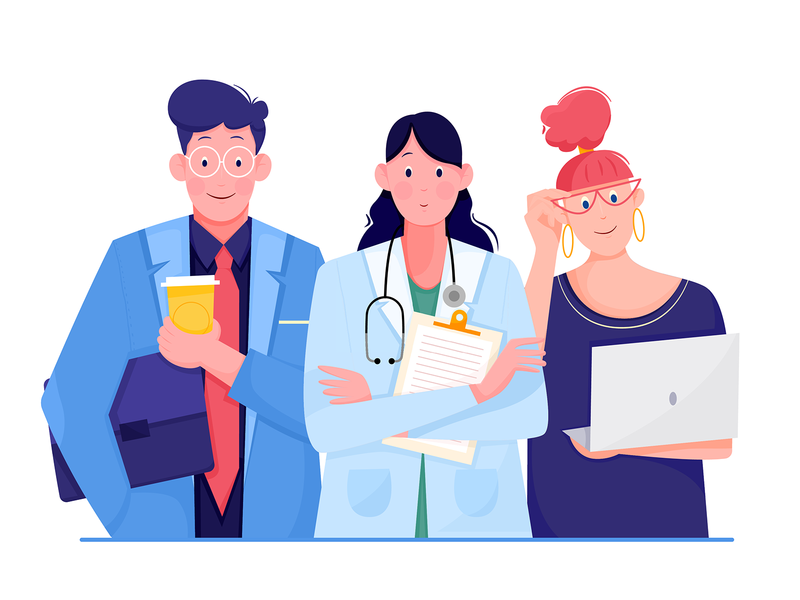 Professions worker nurse human person profession career office designer doctor business job work design woman girl boy man people character illustration