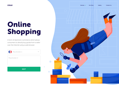 Online Shopping magnifier analysis online fly affinity designer business buy store shopping shop bag box animal bird person woman girl people character illustration