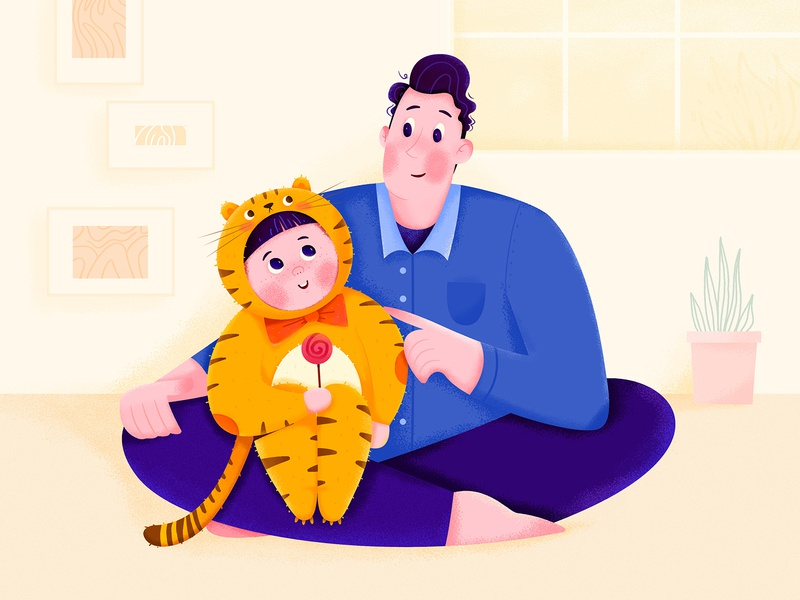 What's Your Type child kid room house family honey daughter dad father uran affinity designer cat tiger animal boy girl man people character illustration