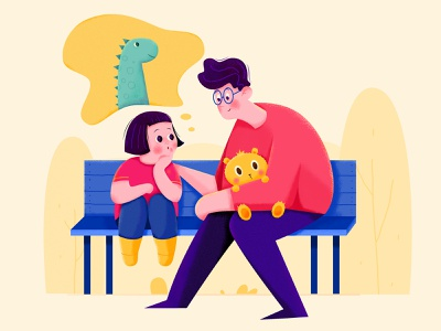 Little Theologians bear dad discuss think talk animal outdoor daughter father love family children child kid dinosaur girl man people character illustration