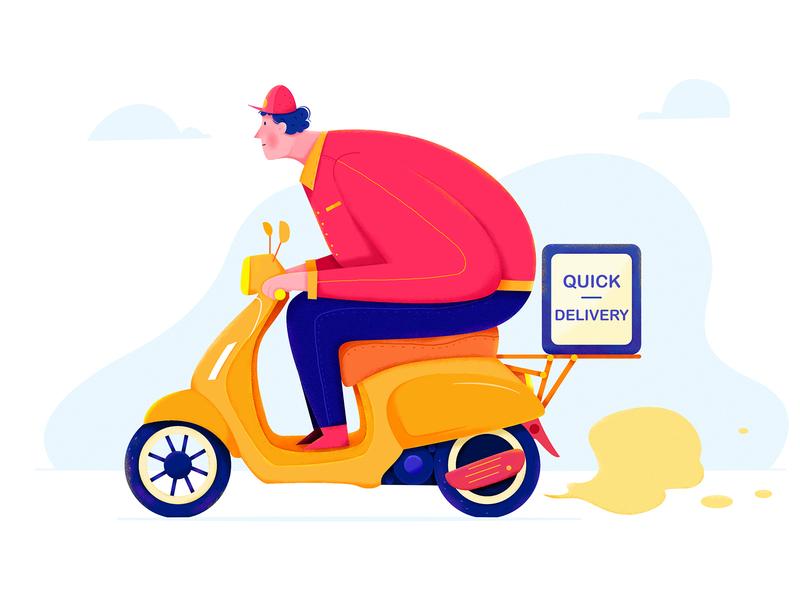 Food Delivery I outdoor service fast quick restaurant scooter bike motorbike driver uran affinity designer motor delivery deliver food boy man people character illustration