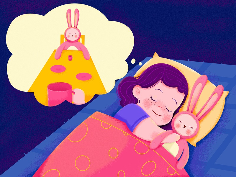 Sweet Dream friend childhood play cute tea party toy rabbit bunny dream sweet sleep home house family children child kid girl character illustration
