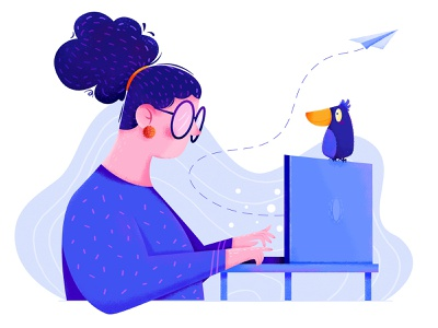 Office blue laptop designer business work hairstyle hair fly plane affinity designer uran person office woman animal bird girl people character illustration