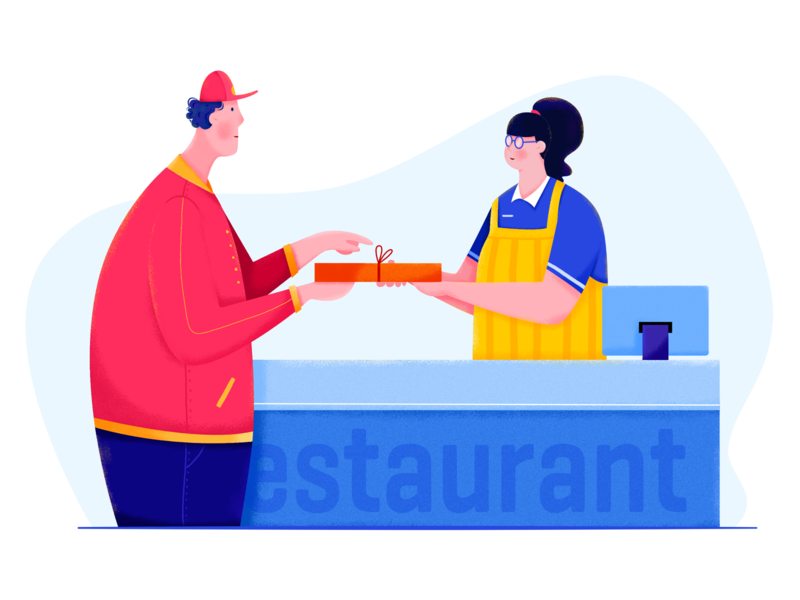 Food Delivery II affinity designer profession career job sales sale store shop driver delivery deliver restaurant food person woman girl man people character illustration