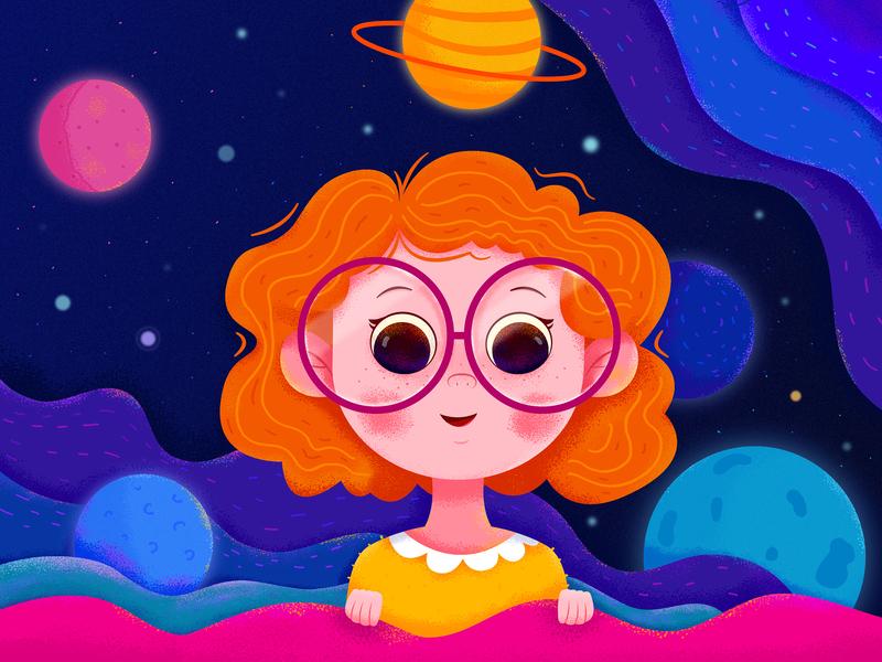 Dream uran affinity designer color blue deep star childhood children child kid dream space universe earth global planet people girl character illustration