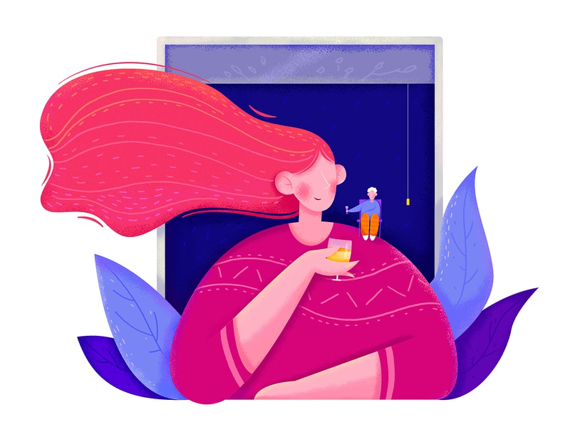Enjoy Time business color time happy enjoy wine cheers style hairstyle hair plant affinity designer uran woman girl boy man people character illustration