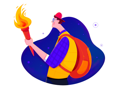 Torch orange color purple affinity designer uran adventure explorer explore dark night outdoor fire torch boy man people character illustration