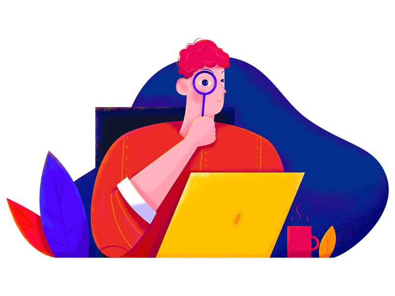 Search find seek job work magnifier color blue red uran affinity designer computer laptop search business office boy man people character illustration