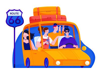 Road Trip woman affinity designer uran telescope van happy group team mate friend journey travel trip road traffic car man people character illustration