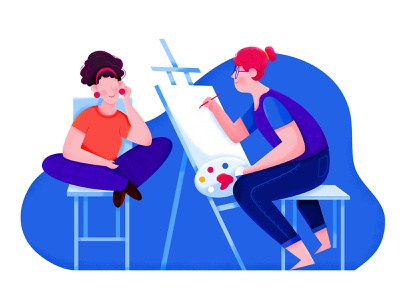 Paint brush palette blue illustrator model friend paint color painting sketch draw drawing affinity designer uran woman girl people character illustration