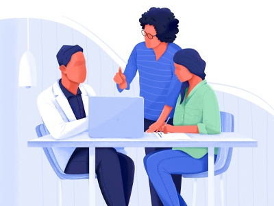 Strategy company talk chat communicate laptop strategy plan group team office work woman affinity designer uran girl boy man people character illustration