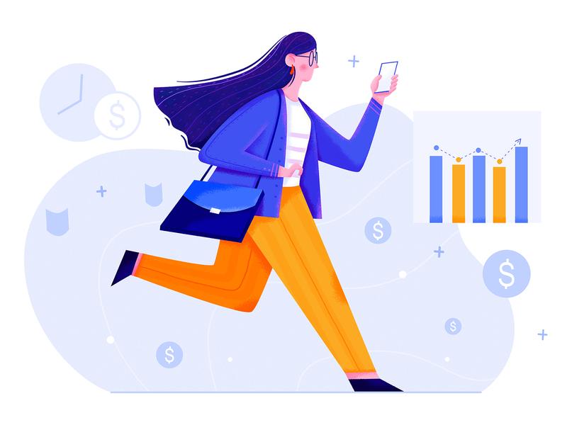 CFO job color lady infographic chart money walk run cfo finance business office work woman affinity designer uran girl people character illustration