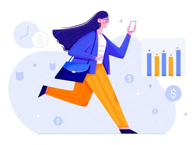 CFO job color lady infographic chart money walk run cfo finance business office work woman affinity designer uran girl people character illustration