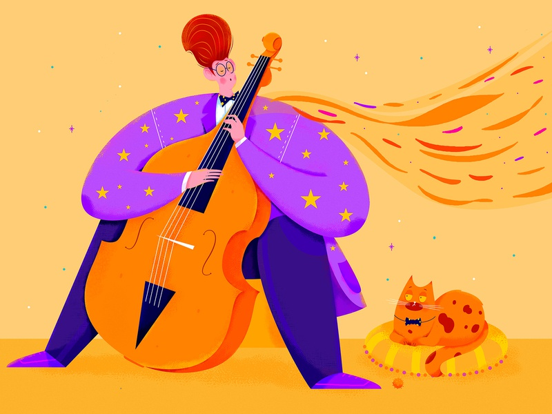 Cello instrument musical instrument entertainment play art purple orange animal cat cello player musician music affinity designer uran boy man people character illustration