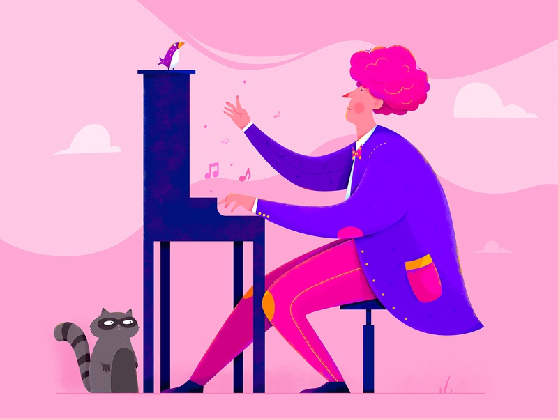 Piano musical note enjoy musical bird entertainment instrument player play musician music piano animal affinity designer uran boy man people character illustration