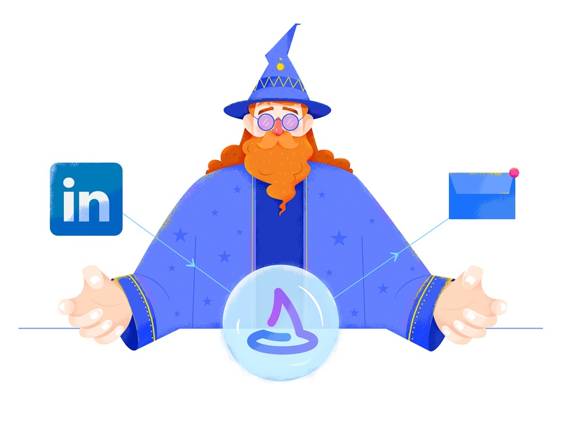 Wiza Illustrations tool fantastic fantasy purple blue wizard ball email hat magic linkedin socialmedia social affinity designer uran man people character illustration