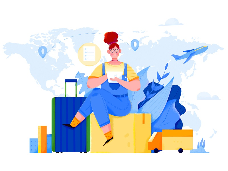 Global Mobility map house location box move truck planet mobility global business office work woman girl affinity designer uran people character illustration