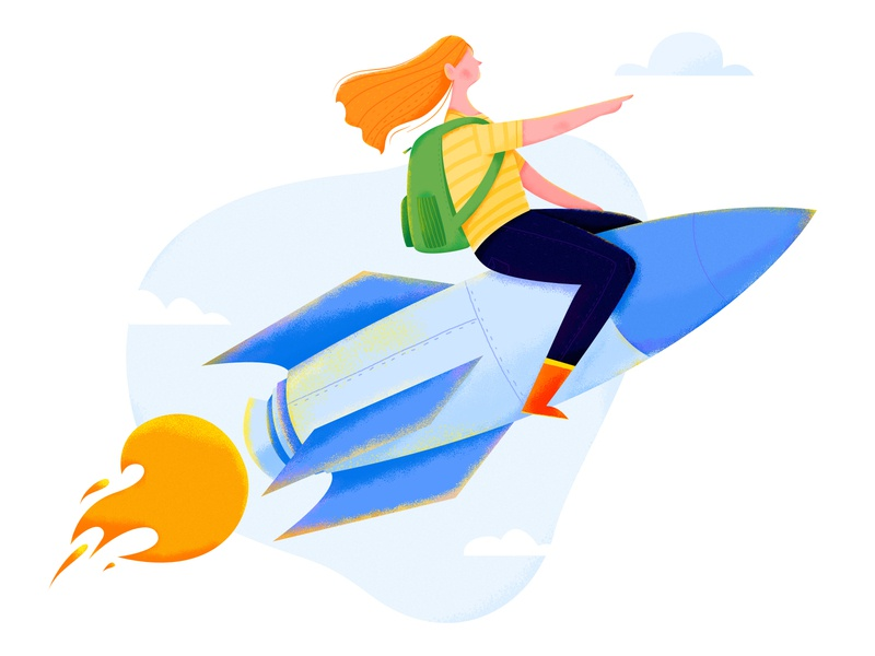 Rocket Girl trip travel rocketship space cloud hover sky lady fly rocket business office work woman girl affinity designer uran people character illustration