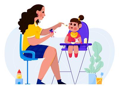 Speech Therapist I need service grow therapist speech toy help food eat children child kid baby girl woman affinity designer uran people character illustration