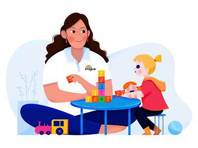 Speech Therapist III honey play fun toy kid child therapist language speech learn teacher teach work woman girl affinity designer uran people character illustration