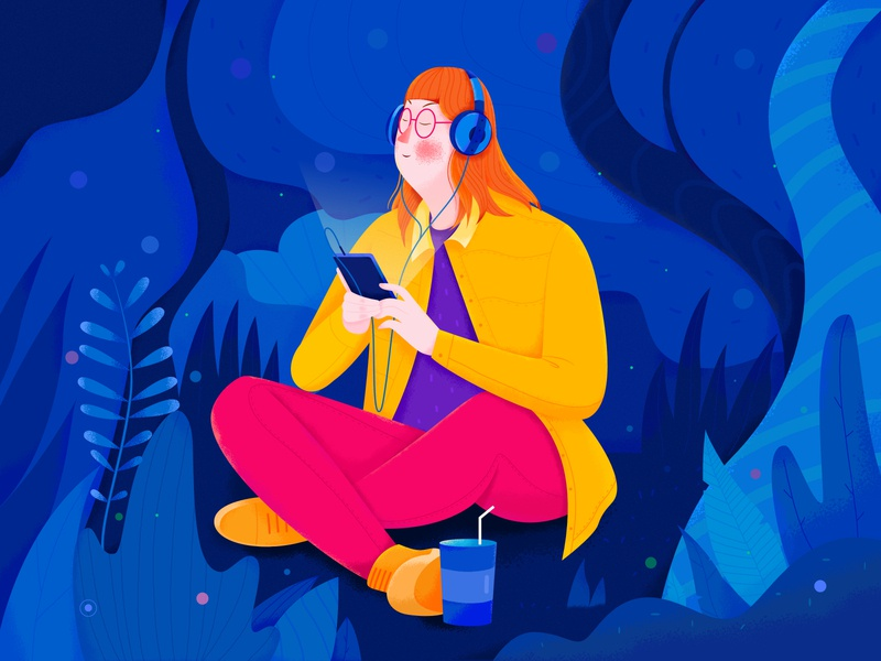 Resting Girl headset peace landscape forest enjoy blue listen song music nature outdoor plant rest woman girl affinity designer uran people character illustration
