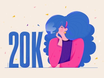20K 20000 celebrate role thinking think fashion hair draw followers 20k smoke beauty lady woman girl affinity designer uran people character illustration