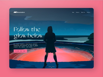 Follow the glow below landing page fantasy digital illustration paintings painting ui illustration