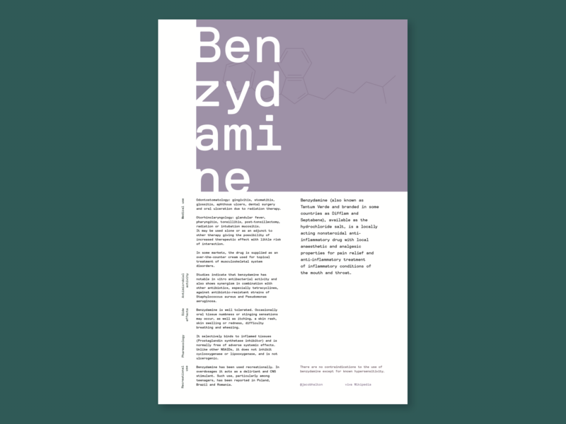 Layout Exercise - Benzydamine poster design typographic poster clean editorial design editorial layout aesthetic typography