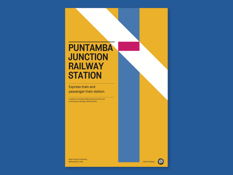 Wikipedia Challenge - Puntamba Junction V2 poster challenge poster a day posters layout poster poster art poster design india travel train station train yellow colorful clean destihl aesthetic typography