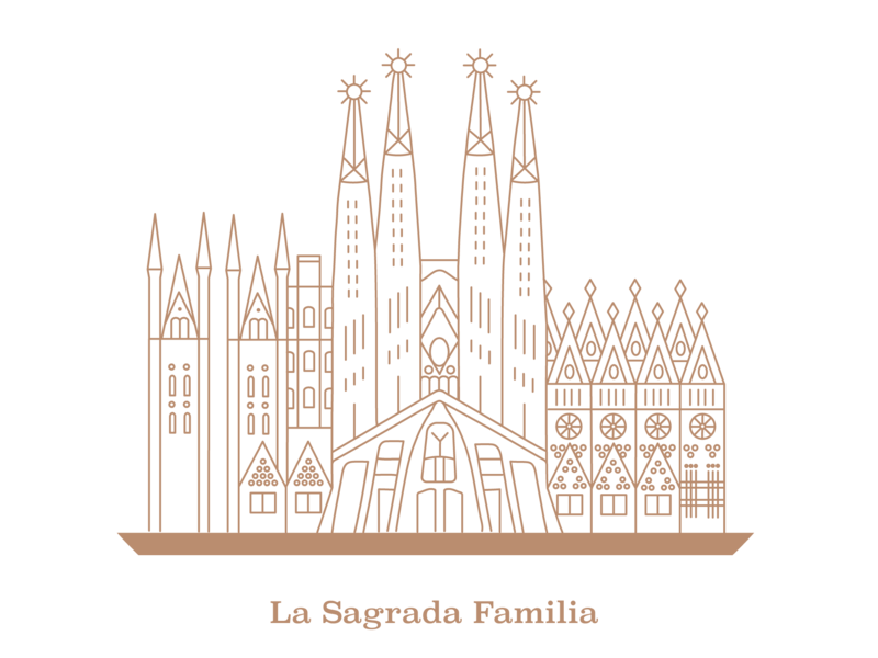 La Sagrada Familia Icon architecture gaudi spain lanmarks landmark design vector illustration icon sagrada familia barcelona