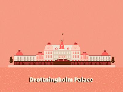 Stockholm Drottningholm Palace city palace sweden stockholm building landmark icon architecture vector illustration design