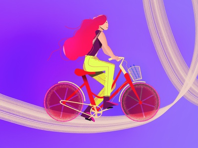 Cycling graphic person cycling riding character girl bicycle bike illustration design