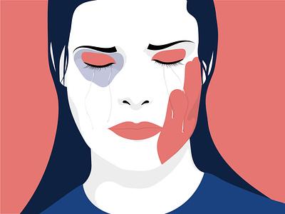 Illustration Violence Against Women illustrator flat art noviolence tears women violence vector illustration vektorrock