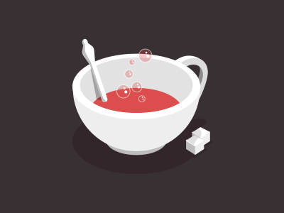 Red, bubbly tea tea cup icon bubble flat vector