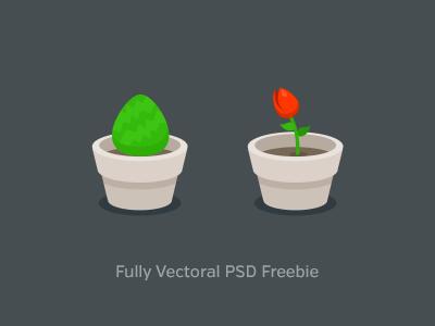 PSD Freebie - 2 Plant Icons plant bush flower icon flat
