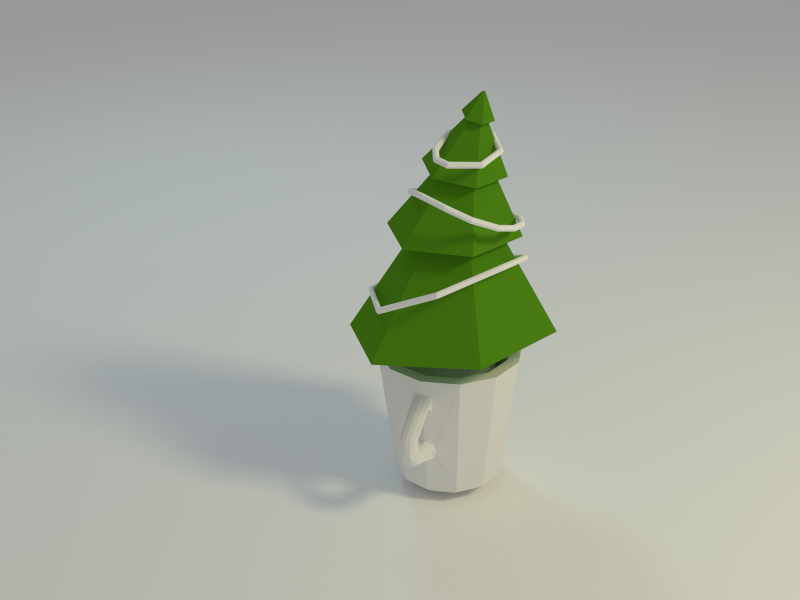 Tree in a cup blender 3d low-poly
