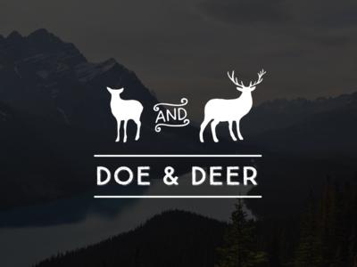 Doe & Deer deer doe and animal brand food packaged goods logo antler