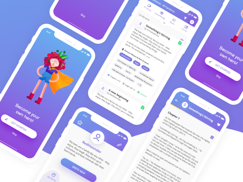FicBloom reading app UI purple gradient illsutration uiux reading app application app design ux ui