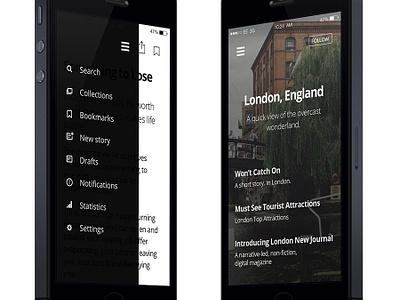 Medium.com App Design medium app mobile ui ux iphone dark navigation menu list icons