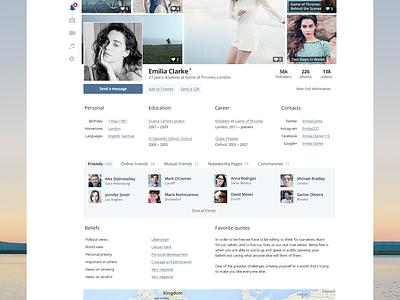 Social Network Concept feed profile messages tiles facebook vk vkontakte concept social blue dashboard redesign