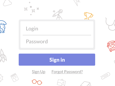 Simple Login Form mosaic password login form signin signup button widget light icons
