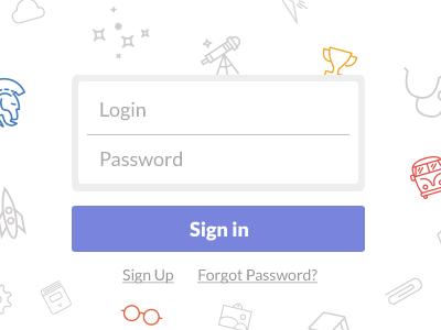 Simple Login Form mosaic password login form signin signup button widget light icons