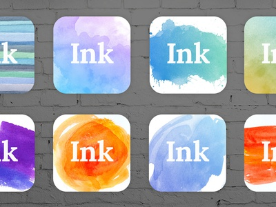 Set of Icons ink clean splash watercolor color simple blob app icons logo white gradient