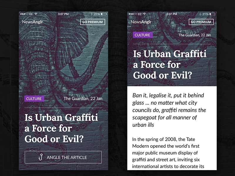 Article Mobile Layout tag news typography dark mobile button graffiti elephant background content article app