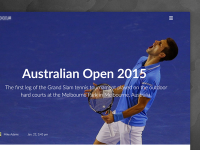 Content Design: Event Page content design minimal photo data typography clean content sport news feed event tennis