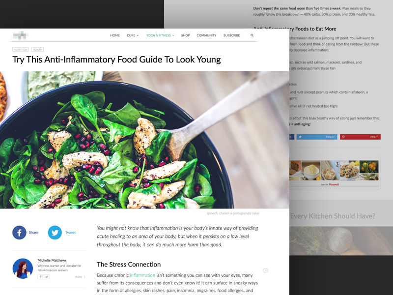 Article Layout content design fitness health nutrition author text layout post blog typography content article