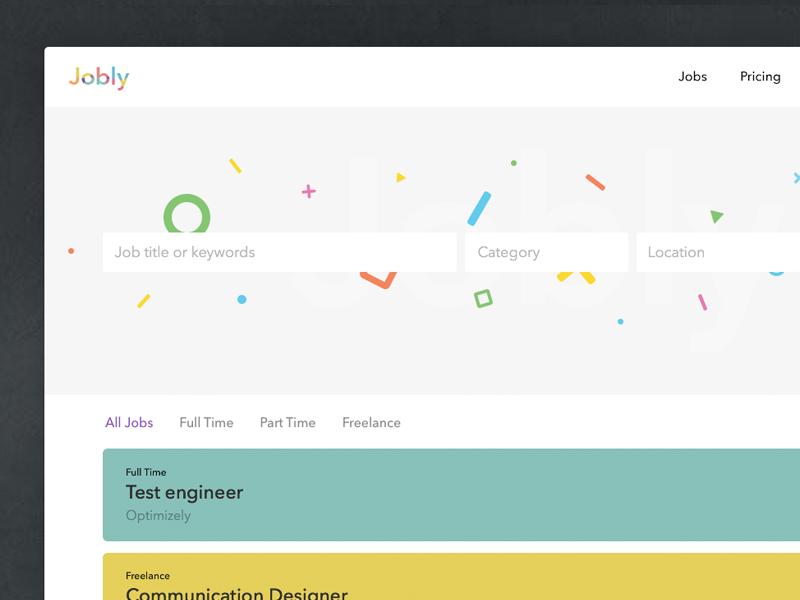 Job Board Design minimal clean ui board job jobs colours design webdesign website
